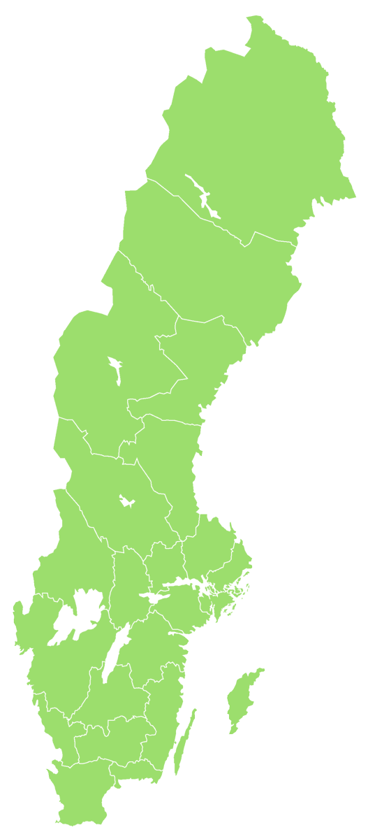 Map over Sweden